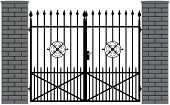 picture of wrought iron  - vector illustration of a wrought iron gate - JPG