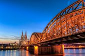 Cityscape Of Cologne From The Rhine River With Blue Sky