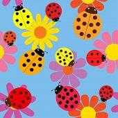 Seamless ladybugs and flowers