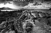 Sunrise Ocean Landscape Mupe Bay Jurassic Coast England  Black And White