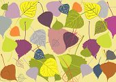 Multi-colored Autumn Leaves On A Yellow Background, With Varying Degrees Of Vectorization