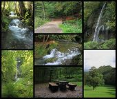 Landscape Collage Of Bad Urach With Waterfall