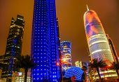 Modern city Doha, by night
