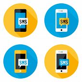 Sms Mobile Circle Flat Icons Set