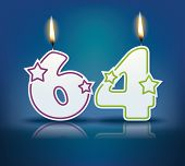 Birthday candle number 64 with flame - eps 10 vector illustration
