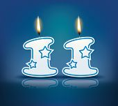 Birthday candle number 11 with flame - eps 10 vector illustration