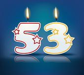Birthday candle number 53 with flame - eps 10 vector illustration