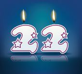 Birthday candle number 22 with flame - eps 10 vector illustration