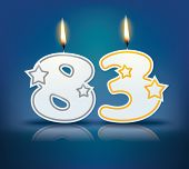Birthday candle number 83 with flame - eps 10 vector illustration