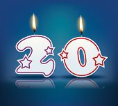 Birthday candle number 20 with flame - eps 10 vector illustration