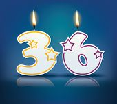 Birthday candle number 36 with flame - eps 10 vector illustration