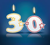 Birthday candle number 30 with flame - eps 10 vector illustration