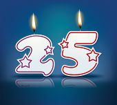 picture of candle flame  - Birthday candle number 25 with flame  - JPG