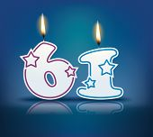 Birthday candle number 61 with flame - eps 10 vector illustration