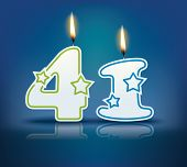 Birthday candle number 41 with flame - eps 10 vector illustration