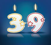 Birthday candle number 39 with flame - eps 10 vector illustration