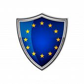 The European Union glossy label or badge on a white background