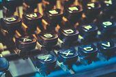 Close Up Of Antique Typewriter Keys. Old Manual Retro Keys, Vintage Keyboard.