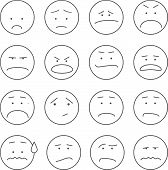 stock photo of angry smiley  - Set of 16 emoticons or smileys each with a different facial expression and emotion - JPG