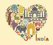 Symbols of India in the form of heart