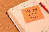 Happy New Year on a new year organizer
