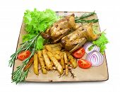 Roasted Carcass Woodcock With Potatoes And Vegetables On The Plate On A White Background