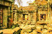 Old ruins in Angkor Wat temple