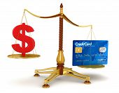 Justice Balance  with Dollar and Credit Card (clipping path included)