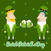 Saint Patrick's Day Celebration Cartoon Characters Symbol Mug of Beer with Foam Icon on Stylish Clov