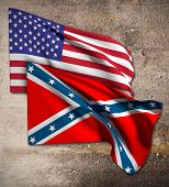 image of confederate flag  - 3d rendering of an united states and confederate flags - JPG