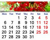 Calendar For July Of 2015 Year With Red Berry