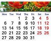 Calendar For July Of 2015 On The Background Of Red Lilies