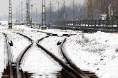 Railroad tracks in the snow