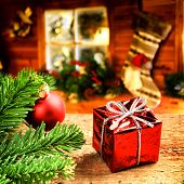 Christmas Setting With Festive Gift Box