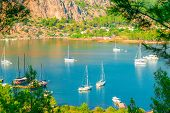 Beautiful Picturesque Bay Of The Sea And Yachts