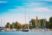 Harbour And Quay Yacht In Summer Day. Helsinki, Finland.