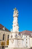 Holy Trinity Column Near Matthias Church In Budapest