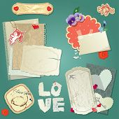 Set Of Vintage Postcards, Vintage Papers And Labels, Hearts For Valentines Day Design.