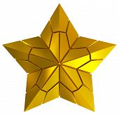 Christmas Star Golden 3D Isolated