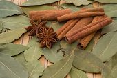 group of spice on bamboo placemat