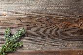 Fir Branch On A Wooden Table