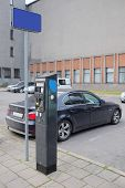 Klaipeda, Lithuania - November 18, 2014: Parking machine in the old part of Klaipeda, Lithuania
