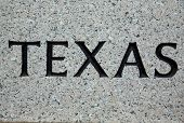 The word texas printed on Granite from the Texas State Capitol Building