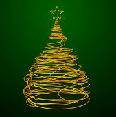 Christmas Tree Made Of Gold Wire. Green Background.