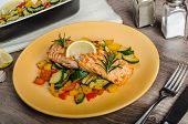 Salmon Baked With Thyme And Mediterranean Vegetables