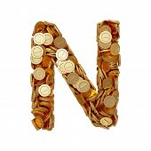 Alphabet Letter N With Golden Coins Isolated On White Background