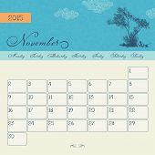 Calendar for November 2015 starting Monday, vector calendar set