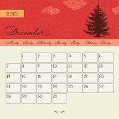Calendar for December 2015 starting Monday, vector calendar set