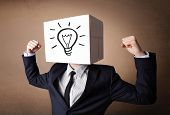 Businessman standing and gesturing with a cardboard box on his head with light bulb