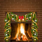 fireplace and Christmas garland